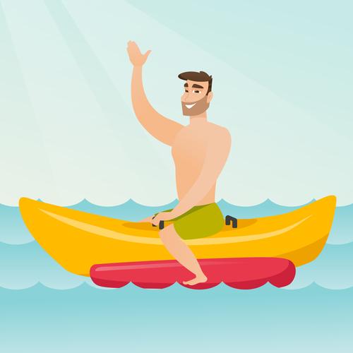 Vegetarian man riding a banana boat