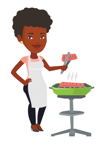 An african-american woman cooking steak on the barbecue grill.