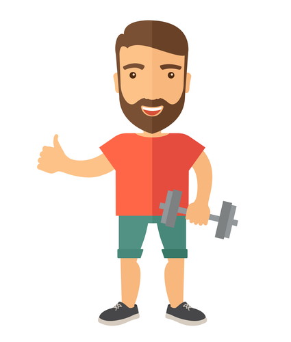 A caucasian man holding dumbells and giving a thumbs up signal.